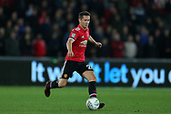 Ander Herrera of Manchester United in action.EFL Carabao Cup 4th round match, Swansea city v Manchester Utd at the Liberty Stadium in Swansea, South Wales on Tuesday 24th October 2017.<br /> pic by  Andrew Orchard, Andrew Orchard sports photography.