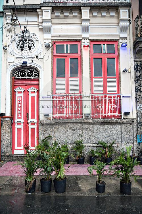 Old Portuguese style colonial building in Lapa neighborhood of Rio de Janeiro, Brazil.