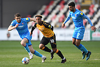 Football - 2020 / 2021 Sky Bet League Two - Newport County  vs Cheltenham Town - Rodney Parade<br /> <br /> Nicky Maynard of Newport County holds off the challenge from Sean Long and Conor Thomas of Cheltenham Town.<br /> <br /> COLORSPORT/ASHLEY WESTERN