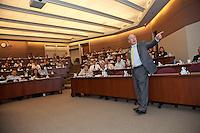 Chick Fila Dan CEO T. Cathy addressing students at Northwestern University Kellogg school of business.
