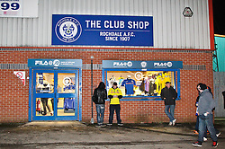 Rochdale fans gather outside the club shop prior to kick off - Photo mandatory by-line: Matt McNulty/JMP - Mobile: 07966 386802 - 26/01/2015 - SPORT - Football - Rochdale - Spotland Stadium - Rochdale v Stoke City - FA Cup Fourth Round