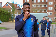 AFC Wimbledon defender Paul Kalambayi (30) arriving during the EFL Sky Bet League 1 match between AFC Wimbledon and Doncaster Rovers at the Cherry Red Records Stadium, Kingston, England on 9 March 2019.