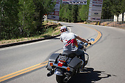 June 26-30 - Pikes Peak Colorado. Sebastian Loeb on a Harley Davidson at the PPIHC start line.