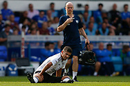 Fulham striker Rui Fonte (9) injured during the EFL Sky Bet Championship match between Ipswich Town and Fulham at Portman Road, Ipswich, England on 26 August 2017. Photo by Phil Chaplin.