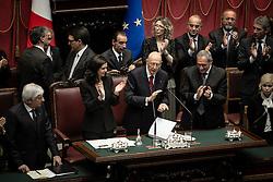 Roma 22.04.2013 - Camera dei Deputati. Il Parlamento è riunito in seduta comune per il giuramento del neo eletto Presidente della Repubblica Giorgio Napolitano. Foto Giovanni Marino