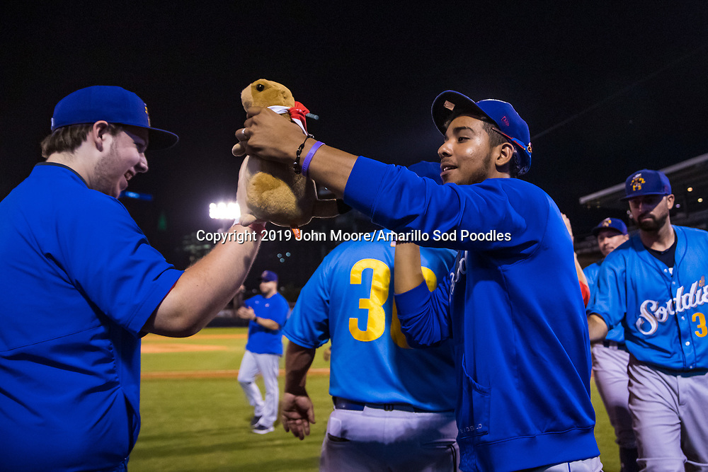 Amarillo Sod Poodles pitcher Luis Patino (35) after the game against the Tulsa Drillers during the Texas League Championship on Saturday, Sept. 14, 2019, at OneOK Field in Tulsa, Oklahoma. [Photo by John Moore/Amarillo Sod Poodles]