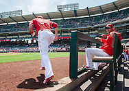 C.J. Cron takes the field for the Angels' preseason game against the Chicago Cubs at Angel Stadium Sunday.<br /> <br /> <br /> ///ADDITIONAL INFO:   <br /> <br /> angels.0404.kjs  ---  Photo by KEVIN SULLIVAN / Orange County Register  --  4/3/16<br /> <br /> The Los Angeles Angels take on the Chicago Cubs at Angel Stadium during a preseason game at Angel Stadium Sunday.<br /> <br /> <br />  4/3/16
