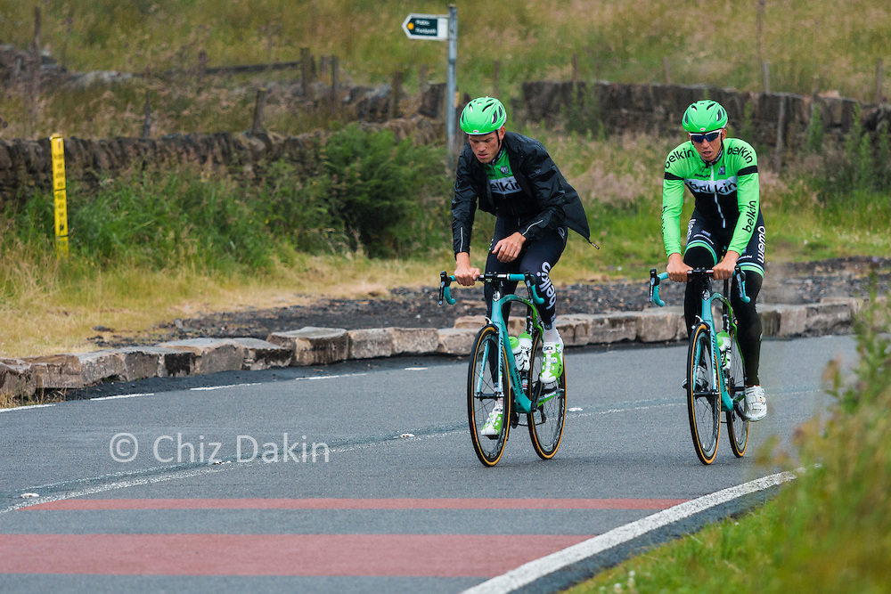 A couple of riders from Team Belkin out in front of the group on a team practice run up Holme Moss a couple of days before start of the 2014 Tour de France.
