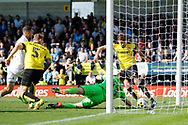 Leeds United striker Kemar Roofe (7) has his shot saved by Burton Albion goalkeeper Stephen Bywater (13) during the EFL Sky Bet Championship match between Burton Albion and Leeds United at the Pirelli Stadium, Burton upon Trent, England on 22 April 2017. Photo by Richard Holmes.