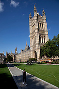 Houses of Parliament on a bright sunny summers day in Westminter, London.