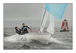 470 Class European Championships Largs - Day 2.Wet and Windy Racing in grey conditions on the Clyde...FRA34, Gabriel SKOCZEK, Achille NEBOUT, Yacht Club Mauguio Carnon .
