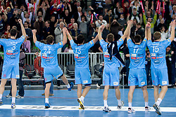 Players of Slovenia celebrate after winning the handball match between National teams of Slovenia and Poland of Qualification Group 3 for Men's EURO 2012, on March 9, 2011 in Arena Stozice, Ljubljana, Slovenia. Slovenia defeated Poland 30-28. (Photo By Vid Ponikvar / Sportida.com)