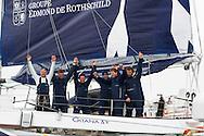La Route des Princes. Plymouth. UK<br /> The Edmond de Rothschild MOD70 team skippered by Sébastien Josse (FRA) celebrate after winning both the final leg and event<br /> Credit: Lloyd Images