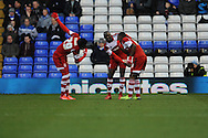Middlesbrough's players celebrate after Mustapha Carayol (r) scores the 1st goal during the Skybet football league championship match, Birmingham city v Middlesbrough at St.Andrew's in Birmingham, England on Sat 7th Dec 2013. pic by Jeff Thomas/Andrew Orchard sports photography.