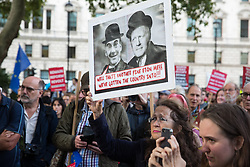 London, UK. 2 September, 2019. Hundreds of people attend a 'Stop the Coup' protest in Parliament Square following Prime Minister Boris Johnson's address to the nation outside 10 Downing Street to the effect that there will be a vote on a general election if MPs vote for a further delay to Brexit.