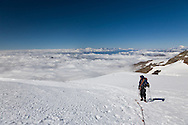 There's something special about looking down on the clouds below, when you've got (most of) the way there under your own steam. (Monte Rosa, above Gnifetti Hut)