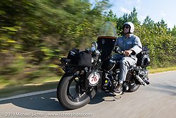 Jeff Milburn riding his Class II 1937 Harley-Davidson WL 750cc Flathead in the Cross Country Chase motorcycle endurance run from Sault Sainte Marie, MI to Key West, FL. (for vintage bikes from 1930-1948). Stage-7 covered 249 miles from Macon, GA to Tallahassee, FL USA. Thursday, September 12, 2019. Photography ©2019 Michael Lichter.