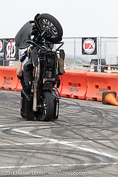 Jeff Flaherty of the Ride and Destroy Bell Helmets stunt team at the RSD Moto Beach Classic. Huntington Beach, CA, USA. Saturday October 27, 2018. Photography ©2018 Michael Lichter.