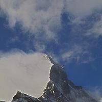 Clouds swirl around the Matternhorn, above Zermatt, Switzerland.