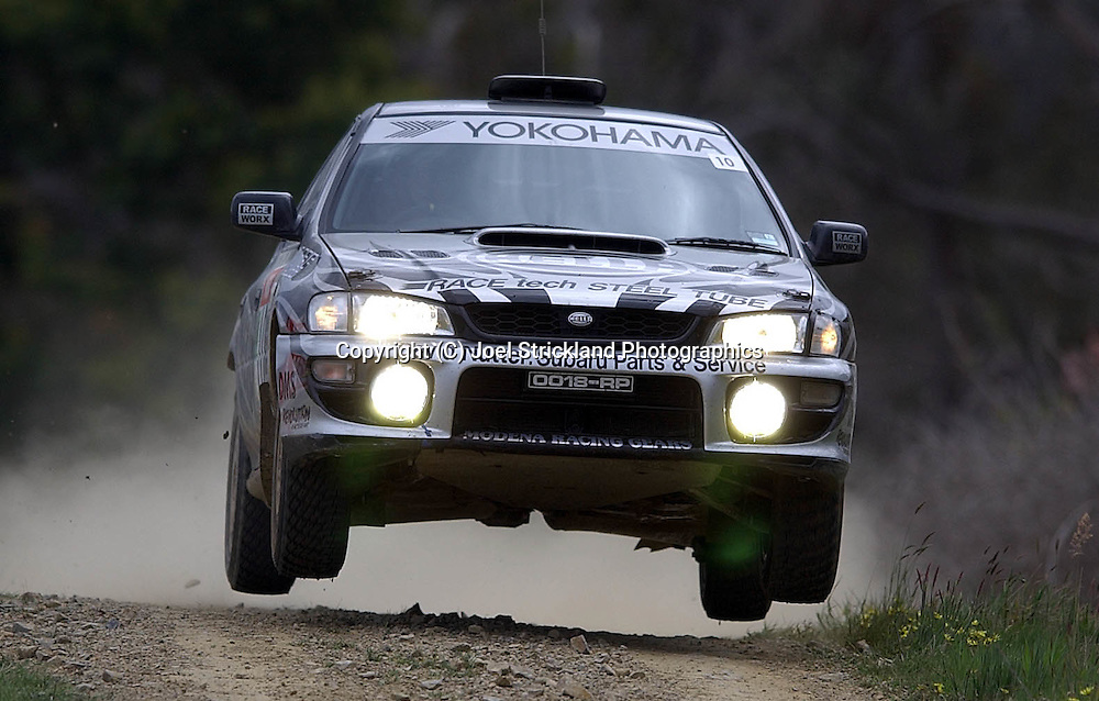 Simon & Sue Evans .Subaru Impreza WRX.Motorsport-Rally.2003 NGK Rally of Melbourne.Yarra Valley, Victoria .5th of October 2003 .(C) Joel Strickland Photographics