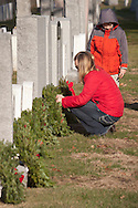 West Point, New York - at the Wreaths Across America ceremony in the West Point Cemetery at the United States Military Academy on Dec. 7, 2013. Volunteers placed 2074 wreaths at graves in the cemetery.