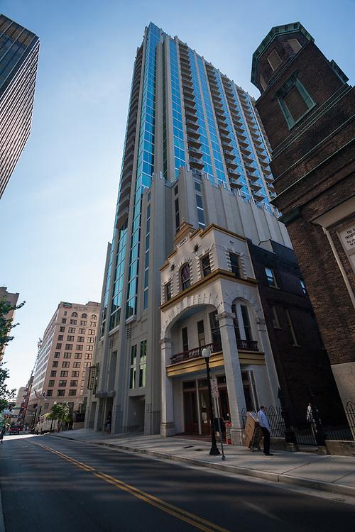 Nashville downtown skyscraper. Some historic buildings still survive among business buildings.