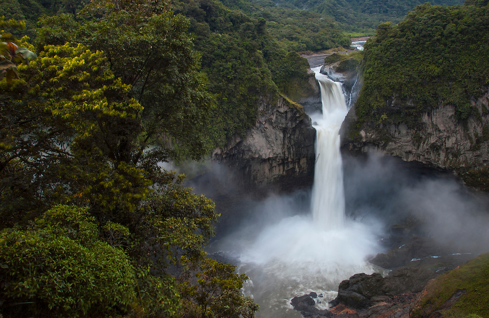 San Rafael (Coca) Falls - Highest waterfall in Ecuador<br /> on the Quijos River<br /> Border of Napo and Sucumbios Provinces<br /> Amazon Rain Forest ECUADOR South America