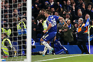 John Terry, the Chelsea captain celebrates towards the fans after scoring his sides 3rd goal to make it 3-3. Barclays Premier league match, Chelsea v Everton at Stamford Bridge in London on Saturday 16th January 2016.<br /> pic by John Patrick Fletcher, Andrew Orchard sports photography.
