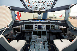 © London News Pictures. 04/07/2013 . London, UK.  The cabin of a  British Airways AIRBUS A380 superjumbo which arrived at Heathrow Airport on July 4, 2013. It was the first time British Airlines have taken delivery of the new plane, making British Airways the first European airline to operate both the 787 and A380. Photo credit : Ben Cawthra/