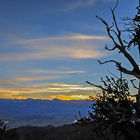 The sun sets over the the Ancient Bristlecone Pine Forest in California's rugged White Mountains. Behind is the Owens Valley and the Palisade region of the eastern Sierra Nevada,.