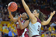 March 18, 2016; Tempe, Ariz;  New Mexico State Aggies guard Shanice Davis (11) drives past Arizona State Sun Devils guard Sabrina Haines (3) during a game between No. 2 Arizona State Sun Devils and No. 15 New Mexico State Aggies in the first round of the 2016 NCAA Division I Women's Basketball Championship in Tempe, Ariz. The Sun Devils defeated the Aggies 74-52.