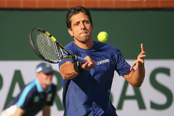 March 15, 2019 - Indian Wells, CA, U.S. - INDIAN WELLS, CA - MARCH 15: Marcelo Melo (BRA) hits a forehand during the BNP Paribas Open on March 15, 2019 at Indian Wells Tennis Garden in Indian Wells, CA. (Photo by George Walker/Icon Sportswire) (Credit Image: © George Walker/Icon SMI via ZUMA Press)