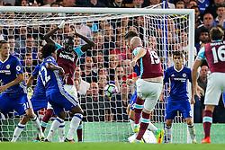 James Collins of West Ham United scores a goal to make it 1-1 - Rogan Thomson/JMP - 15/08/2016 - FOOTBALL - Stamford Bridge Stadium - London, England - Chelsea v West Ham United - Premier League Opening Weekend.