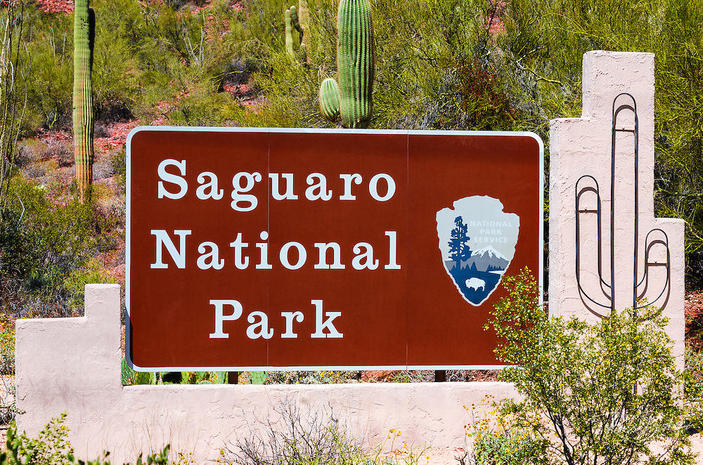 Entrance sign, Saguaro National Park (Tucson Mountain District), Arizona USA