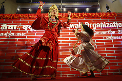 March 30, 2019 - Kathmandu, Nepal - Women dressed in customary attires perform a traditional dance to celebrate a cultural program of World Newah Organization's third convention in Kathmandu. (Credit Image: © Skanda Gautam/ZUMA Wire)