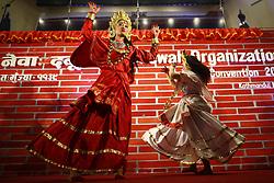 March 30, 2019 - Kathmandu, Nepal - Women dressed in customary attires perform a traditional dance to celebrate a cultural program of World Newah Organization's third convention in Kathmandu. (Credit Image: © Skanda Gautam/ZUMA Wire)