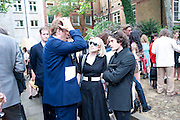 BEN ELLIOT; TICKY HEDLEY-DENT; NICK HACKWORTH, Sebastian Horsley funeral. St. James's church. St. James. London afterwards in the church garden. July 1 2010. -DO NOT ARCHIVE-© Copyright Photograph by Dafydd Jones. 248 Clapham Rd. London SW9 0PZ. Tel 0207 820 0771. www.dafjones.com.