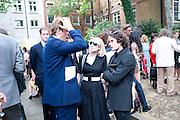 BEN ELLIOT; TICKY HEDLEY-DENT; NICK HACKWORTH, Sebastian Horsley funeral. St. James's church. St. James. London afterwards in the church garden. July 1 2010. -DO NOT ARCHIVE-© Copyright Photograph by Dafydd Jones. 248 Clapham Rd. London SW9 0PZ. Tel 0207 820 0771. www.dafjones.com.