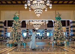 Opulent decorations in foyer of luxury Al Qasr hotel in Madinat Jumeirah resort complex in Dubai in United Arab Emirates