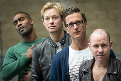 """© Licensed to London News Pictures . 14/04/2014 . Phones 4U Arena , Manchester , UK . L-R Simon Webbe from Blue , Adam Rickitt , Ritchie Neville from Five and Simon """" Spike """" Dawbarn from 911 . Photocall for former boyband stars as part of a reunion tour launch . Photo credit : Joel Goodman/LNP"""
