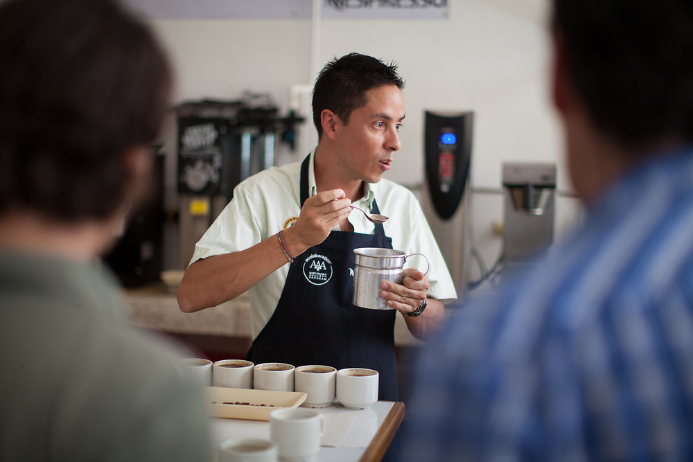 David Molina, tests coffee in the Anserma coffee lab, Caldas, Colombia. Max Havelaar Switzerland works with Colombian coffee producer Cooperativa de Caficultores de Anserma on Fairtrade-certified coffee production.