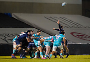 Warriors scrum-half Francois Hougaard puts up a clearance kick during the Gallagher Premiership match Sale Sharks -V- Worcester Warriors at The AJ Bell Stadium, Greater Manchester,England United Kingdom, Friday, January 08, 2021. (Steve Flynn/Image of Sport)