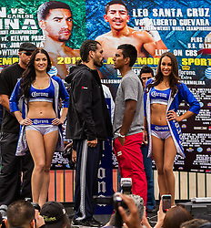 LOS ANGELES, CA - DEC 14: Junior middleweight boxers Alfredo ?Perro? Angulo (left) and Jorge ?Pantera? Silva (Right) at the Khan vs Molina official weigh-in at the Los Angeles Sports Arena in Los Angeles, CA 2012/12/14. Byline, credit, TV usage, web usage or linkback must read . Byline and/or web usage link must  read PHOTO: © Eduardo E. Silva/SILVEX.PHOTOSHELTER.COM.