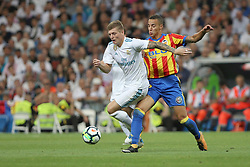 August 27, 2017 - Madrid, Spain - Toni Kroos and Rodrigo. LaLiga Santander matchday 2 between Real Madrid and Valencia. The final score was 2-2, Marco Asensio scored twice for Real Madrid. Carlos Soler and Kondogbia did it for Valencia. Santiago Bernabeu Stadium, august 27, 2017. Photo by  (Credit Image: © |Antonio Pozo |  Media Expre/VW Pics via ZUMA Wire)