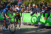 Egan Bernal, Colombian cyclist from Team Sky, walks to the finish line of Stage 5 of the 2019 Volta Catalunya, after suffering a mechanical problem in the final kilometre.