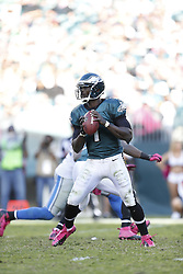 Philadelphia Eagles quarterback Michael Vick (7) in the pocket during the NFL game between the Detroit Lions and the Philadelphia Eagles on Sunday, October 14th 2012 in Philadelphia. The Lions won 26-23 in Overtime. (Photo by Brian Garfinkel)