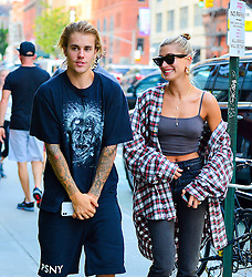 Justin Beiber and Hailey Baldwin all smiles out walking in New York. 08 Aug 2018 Pictured: Justin Beiber and Hailey Baldwin. Photo credit: PC / MEGA TheMegaAgency.com +1 888 505 6342