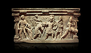 Roman relief sculpted sarcophagus of Aurelia Botiano and Demetria, 2nd century AD, Perge Inv 1.35.99. Antalya Archaeology Museum, Turkey.. Against a black background..<br /> <br /> If you prefer to buy from our ALAMY STOCK LIBRARY page at https://www.alamy.com/portfolio/paul-williams-funkystock/greco-roman-sculptures.html . Type -    Antalya    - into LOWER SEARCH WITHIN GALLERY box - Refine search by adding a subject, place, background colour, etc.<br /> <br /> Visit our ROMAN WORLD PHOTO COLLECTIONS for more photos to download or buy as wall art prints https://funkystock.photoshelter.com/gallery-collection/The-Romans-Art-Artefacts-Antiquities-Historic-Sites-Pictures-Images/C0000r2uLJJo9_s0