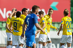 Mustafa Nukic and other players of Bravo celebrate after scoring first goal for Bravo during football match between NK Bravo and NK Domzale in 28th Round of Prva liga Telekom Slovenije 2020/21, on April 17, 2021 in Sports park ZAK, Ljubljana, Slovenia. Photo by Vid Ponikvar / Sportida