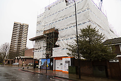 General views of the building site at the intersection on St Paul's Way and Burdett Road in Mile End where bricks fell from a crane seriously injuring a woman on Tuesday March 27th. London, March 28 2018.